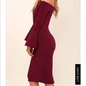 Lulus Burgundy Off-the-Shoulder Midi Dress